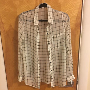 White and Black Checkered Chiffon Shirt